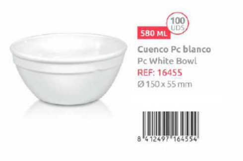 LaGamba: CUENCO BLANCO 140X65MM  580ML