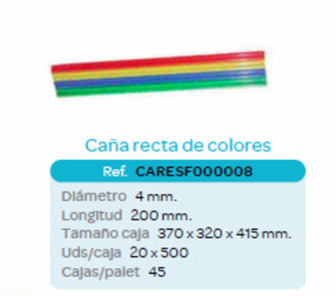 LaGamba: CA�A RECTA COLORES 4X200mm (20x500unid)