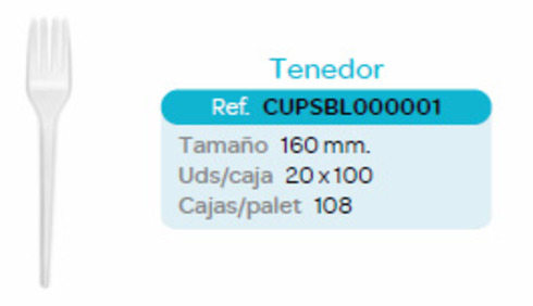 LaGamba: CUBIERTO PS BLANCO TENEDOR 160MM B/1000