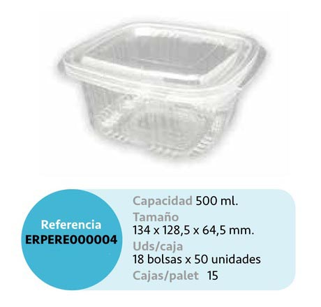 LaGamba: ENVASE RECTANGULAR PET 500CC TAPA BISAGRA