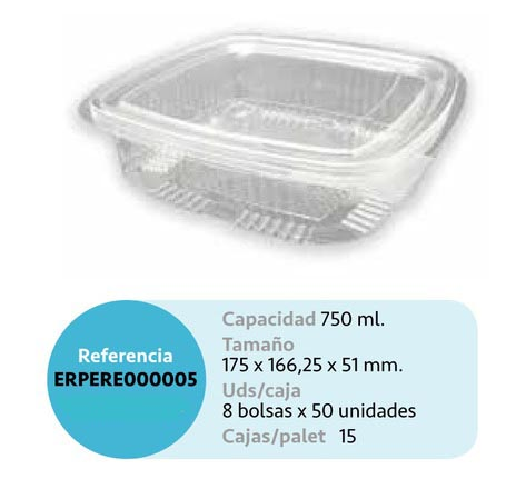 LaGamba: ENVASE RECTANGULAR PET 750CC TAPA BISAGRA