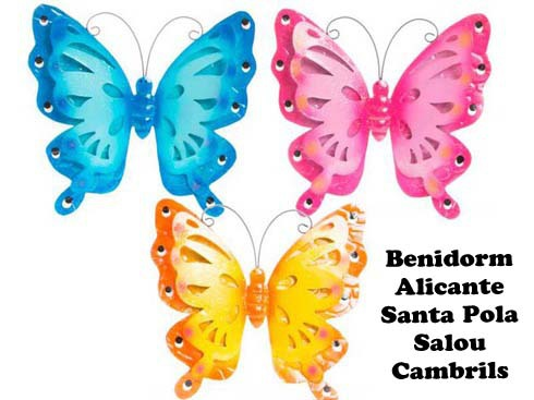 LaGamba: DECORACION PARED METAL 27X26 MARIPOSA RDO.