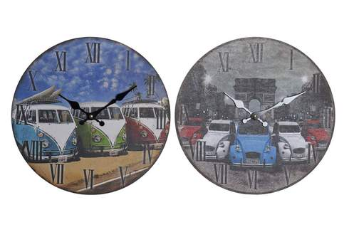 LaGamba: RELOJ PARED MDF 33,5X3X33,5 33,8 COCHES 2