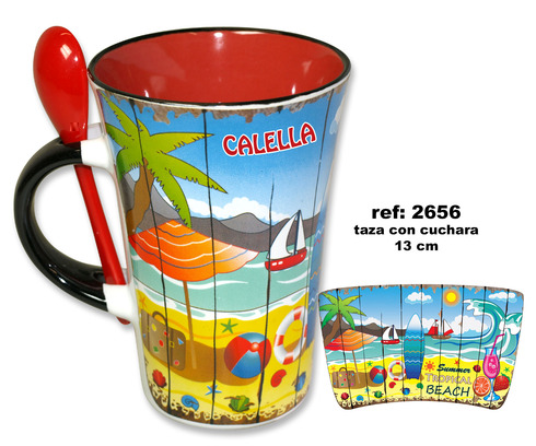 LaGamba: TAZA CON CUCHARA PLAYA TABLA