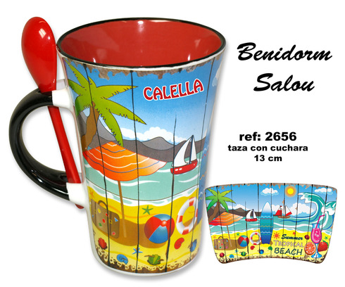 LaGamba: TAZA CON CUCHARA PLAYA TABLA C/RDO.