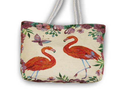 LaGamba: BOLSO CANVAS FLAMINGO 45X30X10 C/20